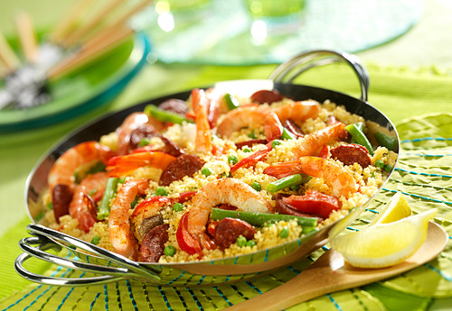 Semolina Jambalaya with shrimps,chorizo and vegetables