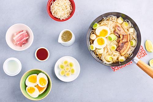 Oork and egg Ramen-style wok