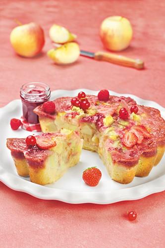 Apple and summer fruit jam cake
