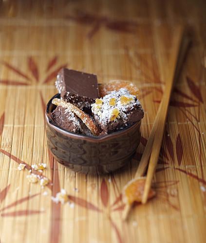 Chocolate,coconut and confit orange bites