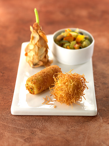 Amandine, Frisette and Croquettes with stewed vegetables