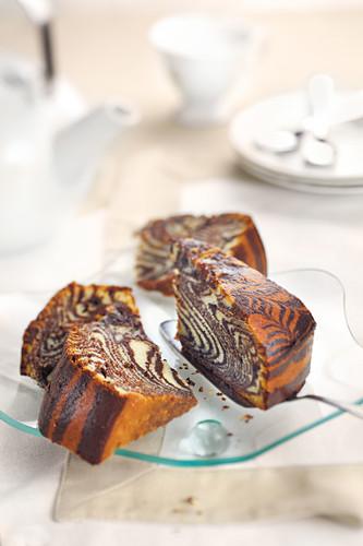 Slices of tiger stripe cake