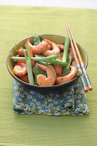 Shrimp and vegetable wok