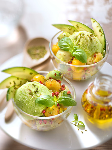 Avocado-mango exotic salad,avocado ice cream,sesame with wasabi,pink peppercorns and basil