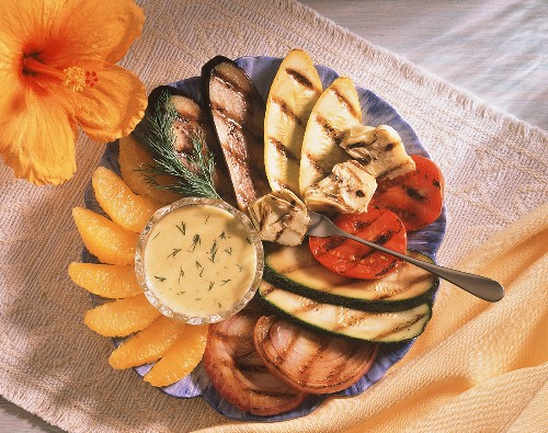 Grilled Vegetable Platter with Orange Dill Sauce