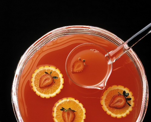 Orange and Strawberry Punch; Punch Bowl; Ladle