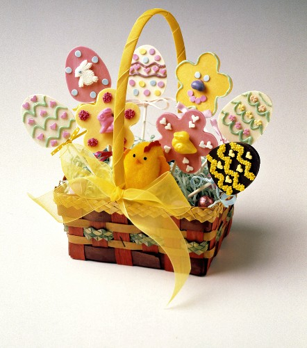 Decorated Easter Cookies; Easter Basket