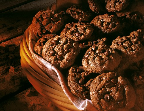 Basket of Chocolate Chocolate Chip Cookies