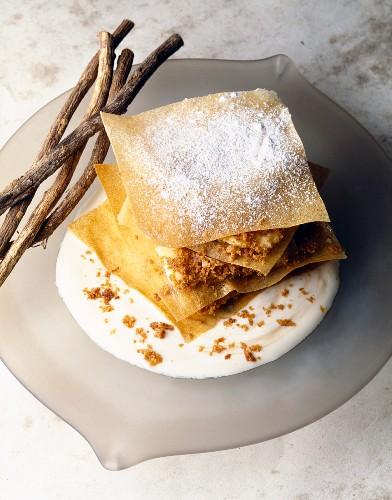 Vanilla ice cream, yoghurt and gingerbread filo pastry dessert