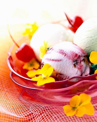 Cherry, pistachio and vanilla sorbets