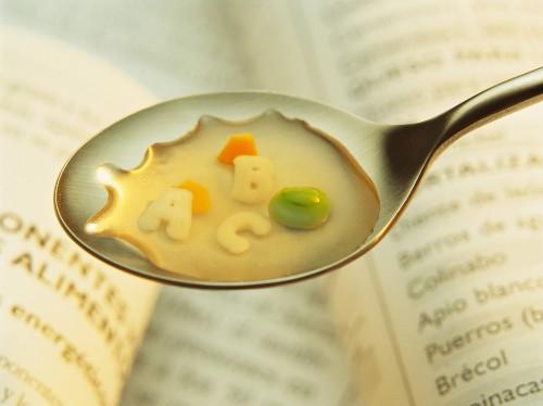 letter-shaped pasta soup