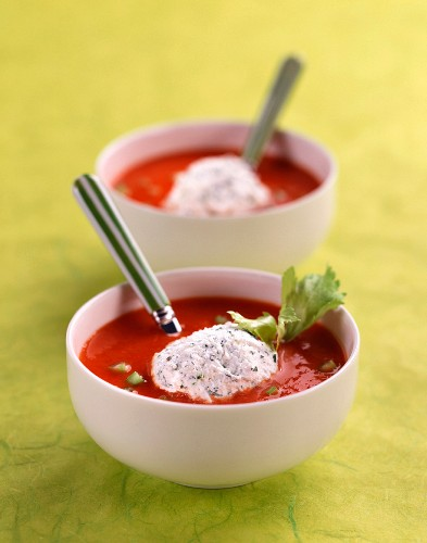 Chilled cream of tomato soup