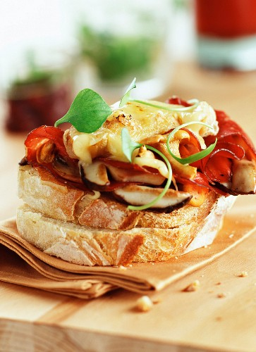 Rocamadour cheese and mushroom open sandwich