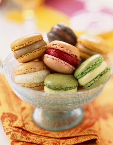 dish of assorted macaroons