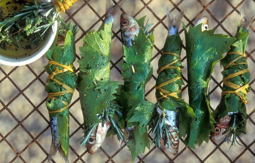 Sardines wrapped in vine leaves ready for grilling on a wire rack with a bowl of olive oil and fresh herbs de Provence