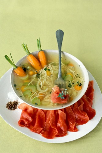 Vagetable broth with vermicelli and beef carpaccio
