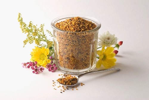 Jar of flower pollen