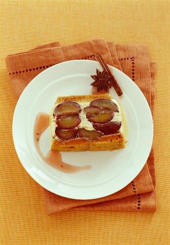 Ice cream terrine with damsons and spices
