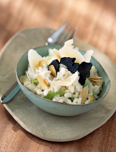 Risotto with truffles, Parmesan cheese, celery and flaked almonds