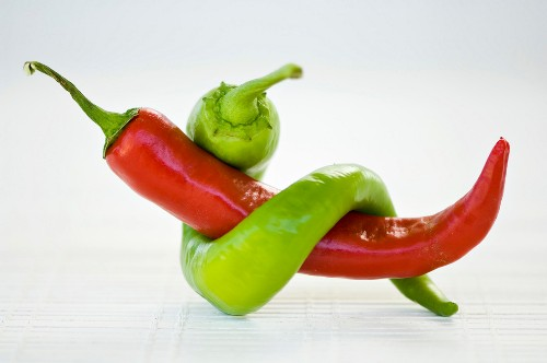 Two peppers tied together