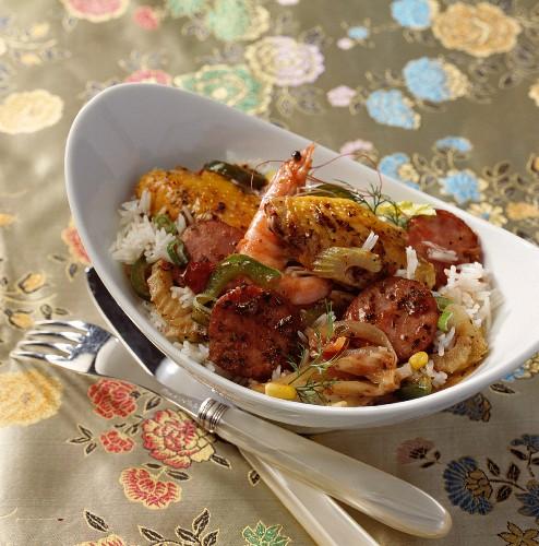 Jambalaya (Creole rice dish with prawns and sausage)