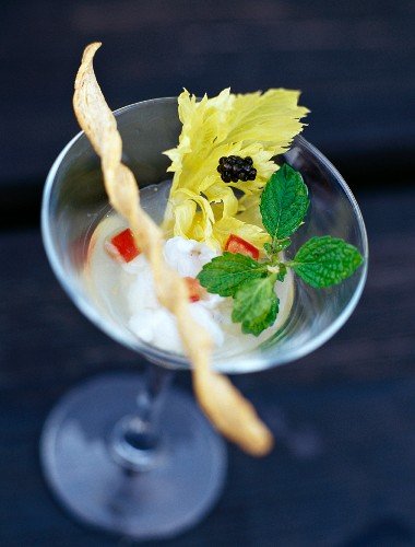 A cocktail with monk fish marinated in lemon