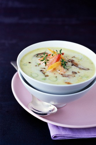 Coconut milk, shrimp, mushroom and confit lemon soup