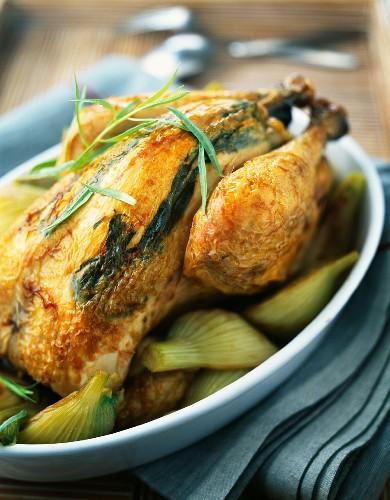 Roast chicken with tarragon under it's skin and fennel