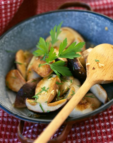 Pan-fried young ceps with garlic