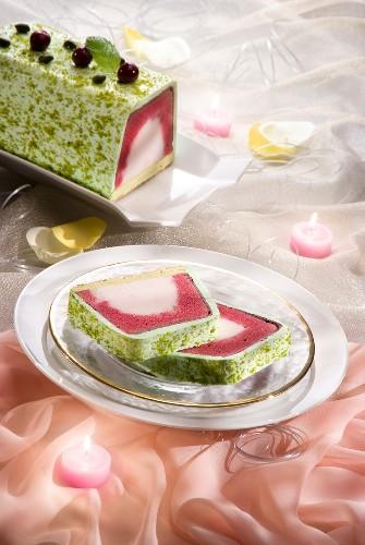Cherry, lemon and pistachio ice cream log cake