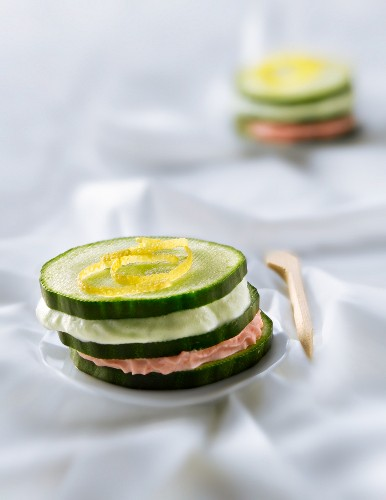 Cucumber, tarama and wasabi cream Mille-feuille