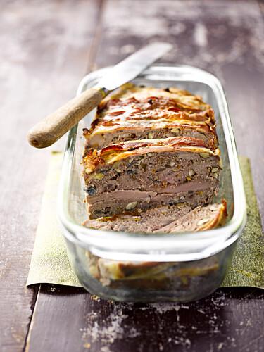 Beef,pork fillet ,hazelnut and Calvados terrine