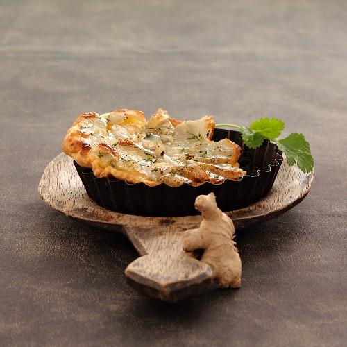 Jerusalem artichoke and ginger savoury tatin tart