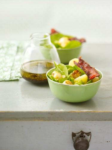 Spinach, potato and petoncle scallop salad