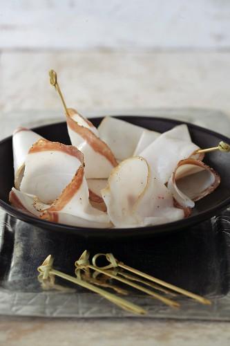 Slices of Lardo di colonnata for aperitif
