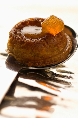 Spoonful of cake with apricot filling