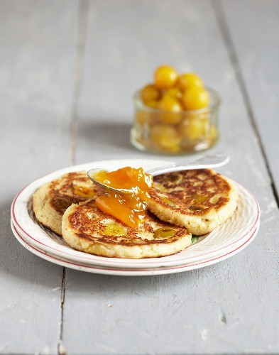 Pancakes with yellow plums