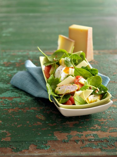 Spinach,chicken,soft-boiled egg and Abondance cheese salad