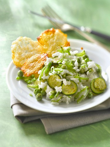 Green vegetable risotto with parmesan tuiles