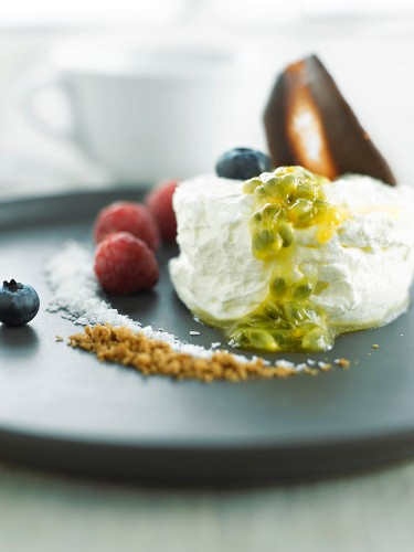 White chocolate mousse ,passionfruit puree