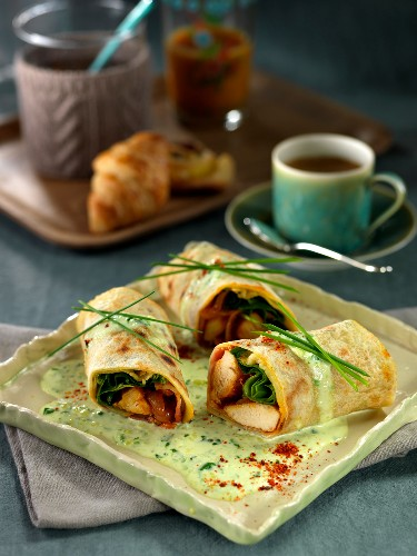 Chicken-coconut rolled pancakes