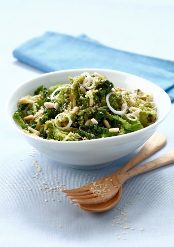 Steamed curly cabbage with sesame seeds,pine nuts and balsamic vinaigar