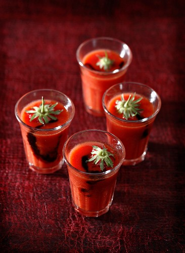 Tomato and strawberry juice with balsamic vinaigar