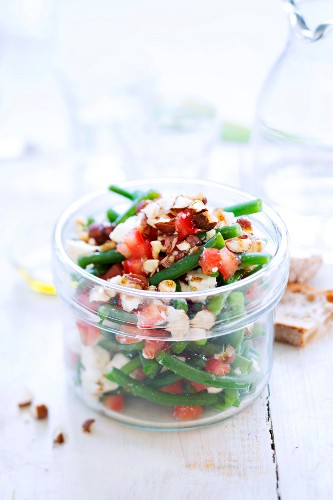 Green bean, tomato and almond salad