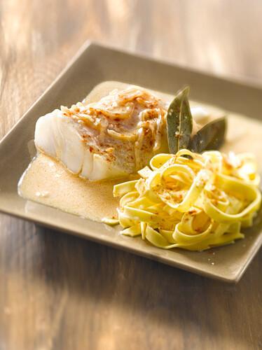 Cod in creamy turmeric and onion sauce,fresh tagliatelles