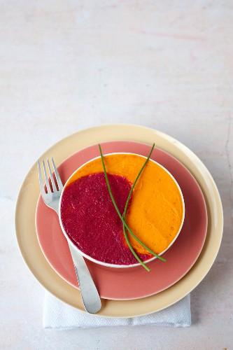 Yin and Yang beetroot and carrot mash