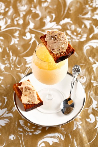 Monbazillac dessert wine granita and honey cake with foie gras