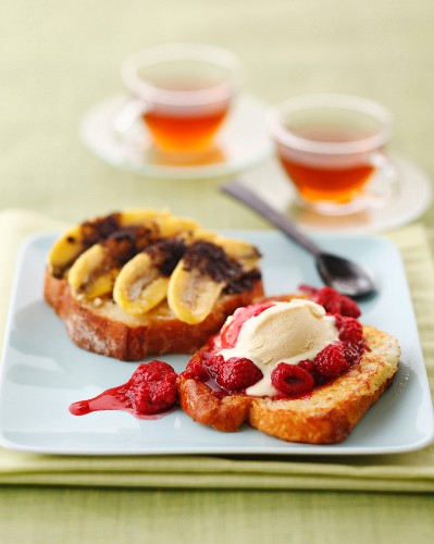 Banana and chocolate on sliced bread and french toast with raspberries and vanilla ice cream