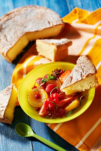 Pontarlier anis cake with fresh fruit salad