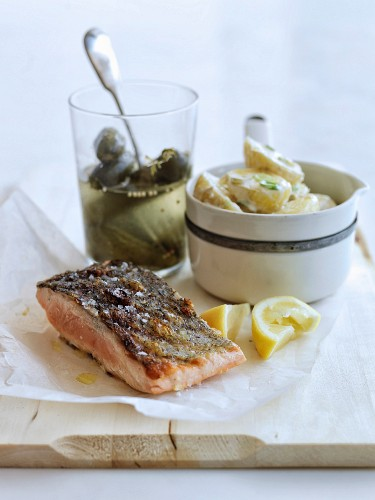 Grilled salmon and creamy lemon-flavored potato salad